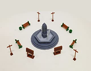 Outland Models Railroad Park/Garden Accessories with Fountain HO OO Scale 1:87