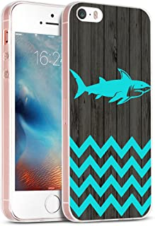 Case for Phone 5S & Cover for 5S & MUQR Replacement Skin Rubber Gel Silicone Slim Drop Proof Protection Protector Compatible with iPhone 5S/5/SE & Chevron Shark Animal Vintage