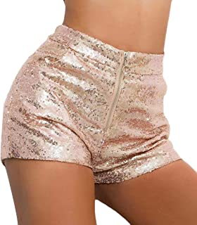 Spirio Women Sexy Club Zip Up Sequins High Waisted Shorts Hot Pants