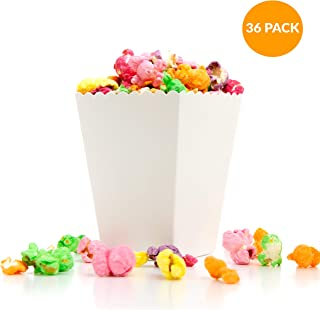 Premium White Mini Popcorn Favor Boxes | Matte FDA Paper Card | Crafted For Movie Nights, Birthday Party, Baby Showers, Weddings, Any Formal Events | Carnival, Circus, School, Party Supplies | 36 Pack