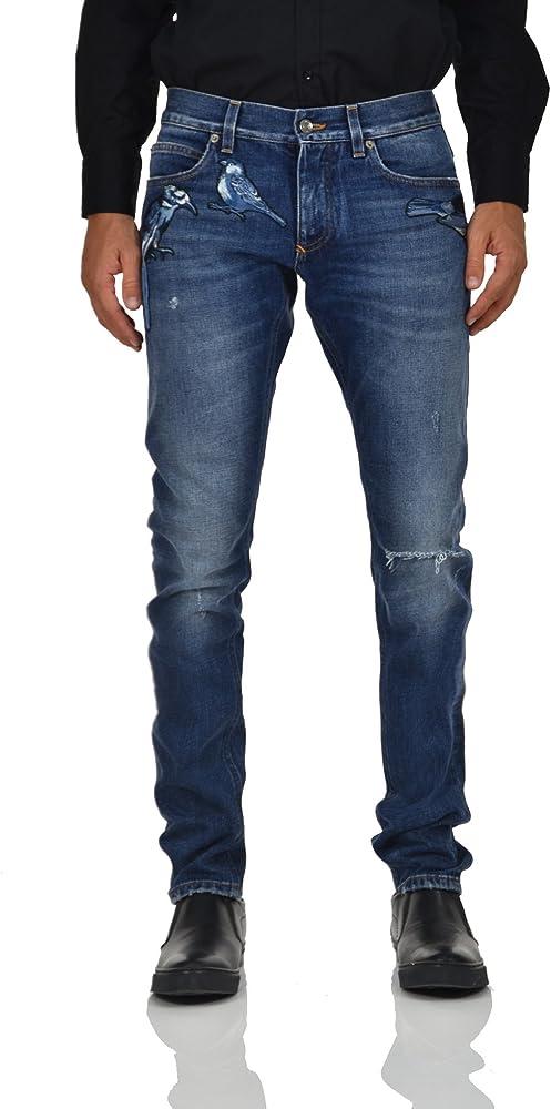 Dolce & gabbana, jeans uomo blu scuro cotone denim 100%,taglia 46 eu