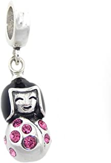 ICYROSE Solid 925 Sterling Silver Dangling Chinese Girl w/Black Hair & Pink Crystal Dress Charm Bead 343 for European Snake Chain Bracelets