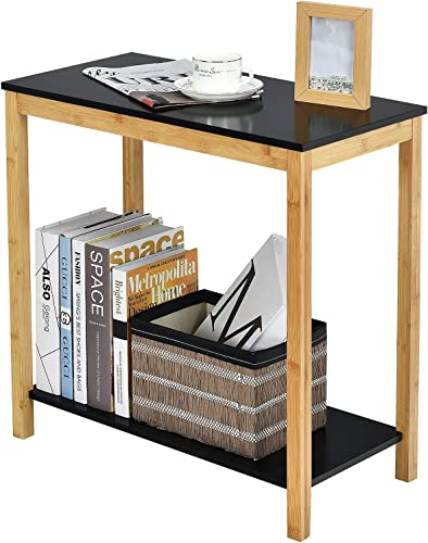 lowest Giantex Bamboo End Table Console Side Table, 2-Tier Sofa BesideTable with Storage Shelf, Felt Pad, high quality Rectangle Multi-Functional Nightstand for Living Room, new arrival Bedroom (Black) outlet sale