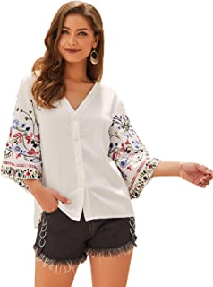 SheIn Women's Boho V Neck Button Front Floral Embroidery Sleeve Blouse Top