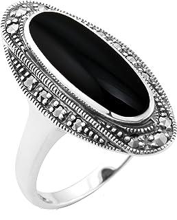 Noire Bague pour femme en argent 925 rhodi/é avec onyx Materia #SR-153/_B4