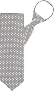 "Jacob Alexander Polka Dot Print Boys 14"" Polka Dotted Zipper Tie - Silver"