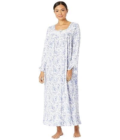 Eileen West Cotton Modal Long Sleeve Ballet Gown (Blue/Rose Floral) Women