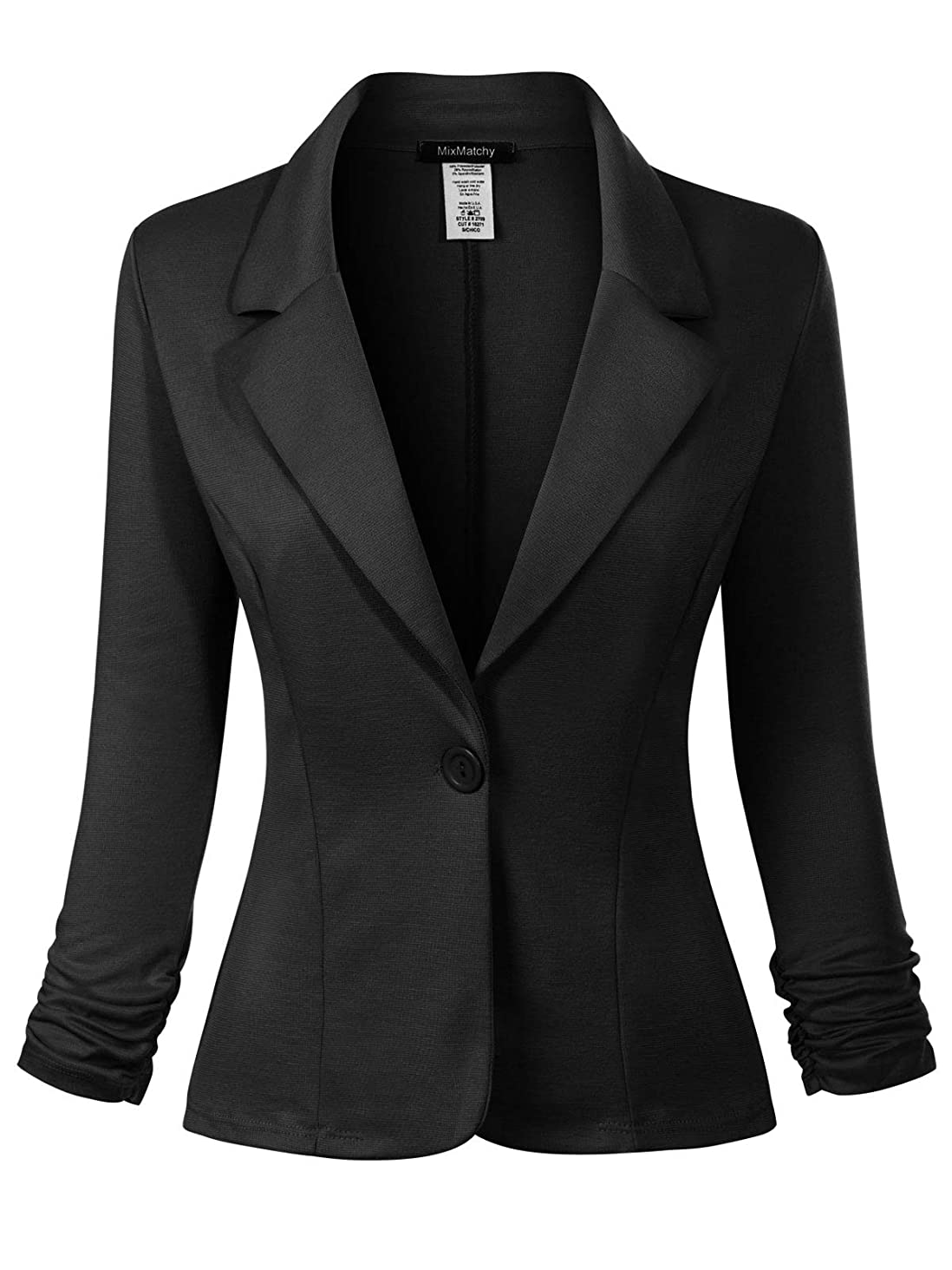 MixMatchy Women's Classic Casual Work Solid Color Knit Blazer