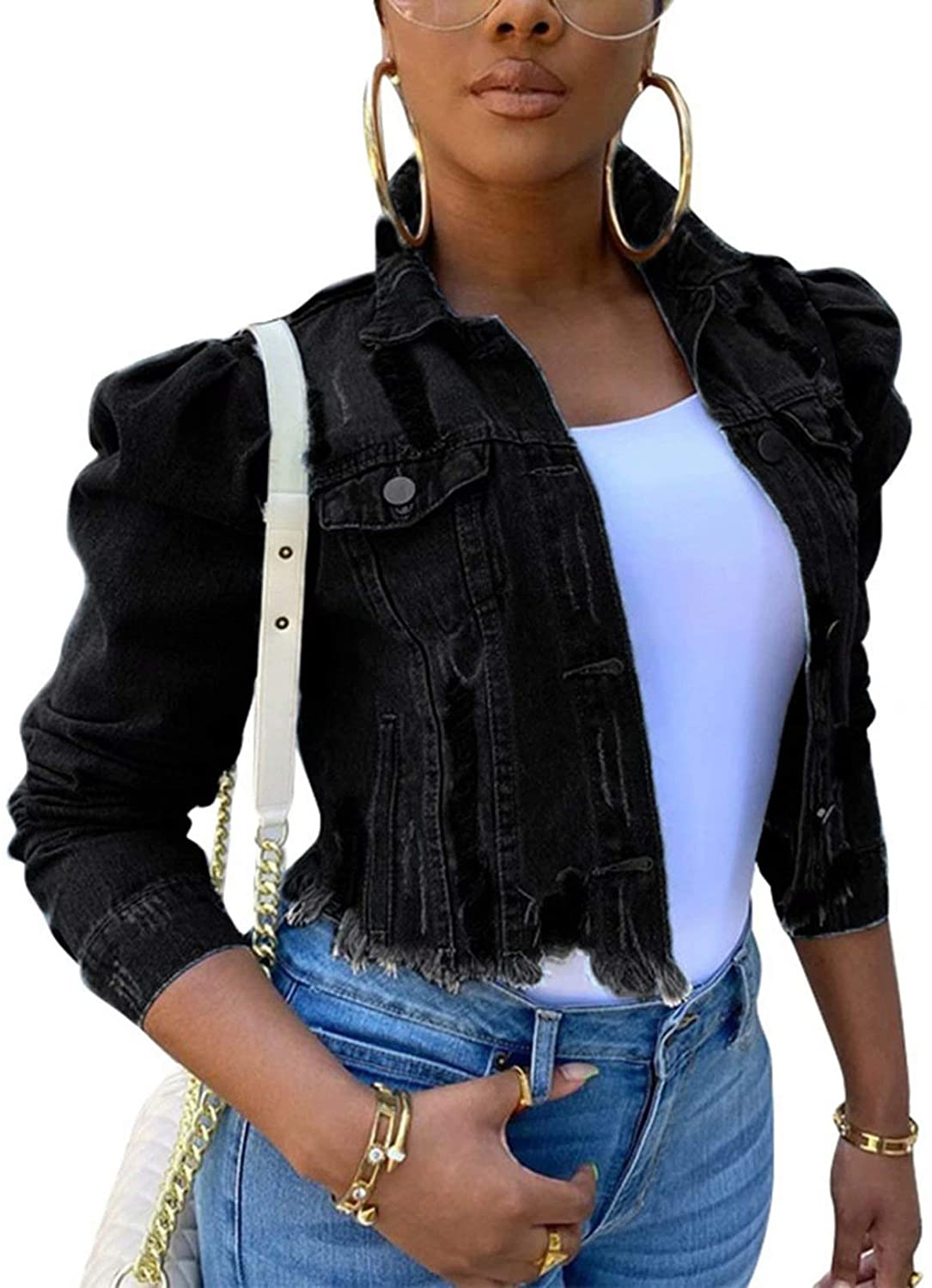 Women Denim Distressed Jacket Puff Sleeve Ripped Pockets Vintage Washed Classic Button Up Cropped Destroyed Jean Coat