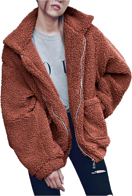 FOVIGUO Women's Coat Hooded Fleece Fuzzy Faux Shearling Zipper Coats Warm Winter Oversized Outwear Jackets