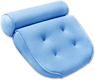 """AUMA Original Premium Spa Bath Pillow with 4 Suction Cups, 15"""" x 14"""", 4"""" Thick Comfortable Luxury Design, Quick Drying, Cushion Provides Head, Neck, Shoulder Support Bath Tub Pillow in Tub (Blue)"""