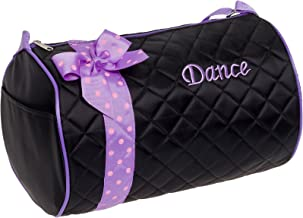 Silver Lilly Girls Dance Bag - Quilted Duffle Bag w/Bow