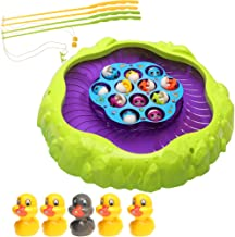 MagiDeal Mini Fishing Game Set with Single-Layer Rotating Board Educational Fishing Toy for Kids