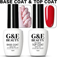Nail Art Soak Off Base Coat + No Wipe Top Coat Set 10ml/Bottle UV/LED Lamp Cure Quick Dry Long Lasting Shine High Gloss Mirror Effect Clear Resin Gel Polish Glue Tested Formula For Home And Salon Use