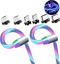 eLUUGIE 2 Packs Magneitc 3 in 1 Charger Cord LED Flowing Magnetic Charger Cable Light Up 3 in 1 USB Cable Compatible with Phone 11 Pro Max/XR/8 Plus/Galaxy Note 10 Plus/Android i-O-S (Colorfull)