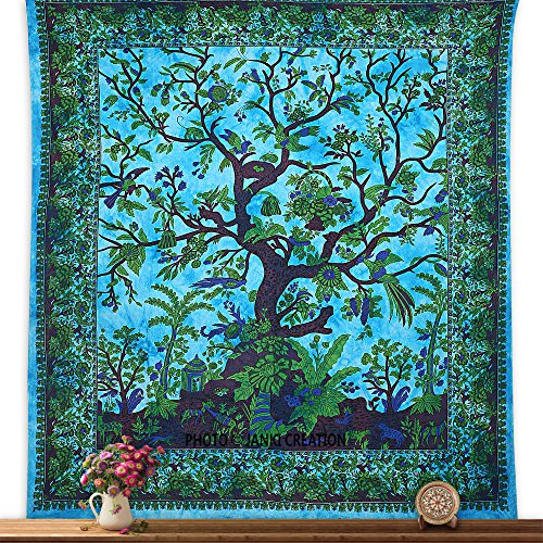 Colcha doble árbol de la vida, tapiz de pared, hippie, hippy, colcha doble.