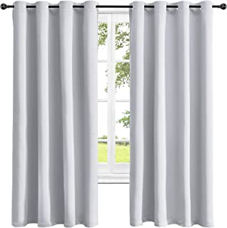 Obstal Thermal Insulated Blackout Curtains - Room Darkening Noise Reducing Grommet Curtain Panels for Bedroom, Greyish White, 52 x 84 Inch, 2 Panels