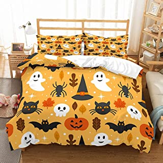 PATATINO MIO Cartoon Halloween Decor Duvet Cover Full Size Microfiber 3D Ghost Black Bats Witch Hat Jack O'Lantern Bedspread Printed Yellow Bedding Set for Kids Teens 3 Pieces with 2 Pillowcase