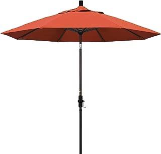 California Umbrella 9' Round Aluminum Market Umbrella, Crank Lift, Collar Tilt, Bronze Pole, Sunbrella Henna