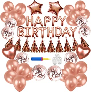 Birthday Decorations,Conthfut Birthday Party Supplies Happy Birthday Balloons Banner Rose Gold Birthday Decorations for Boys Girls Birthday Party Include Confetti Ballons