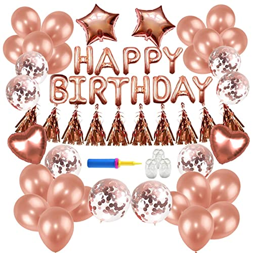 Birthday DecorationsConthfut Party Supplies Happy Balloons Banner Rose Gold Decorations For