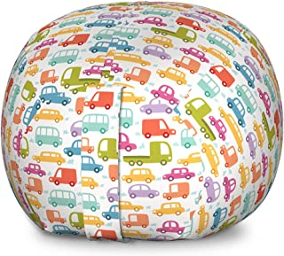 Ambesonne Cars Storage Toy Bag Chair, Drive on a Sunny Fun Summer Day Theme with Colorful Buses Trucks Exhaust Fumes, Stuffed Animal Organizer Washable Bag for Kids, Large Size, Multicolor