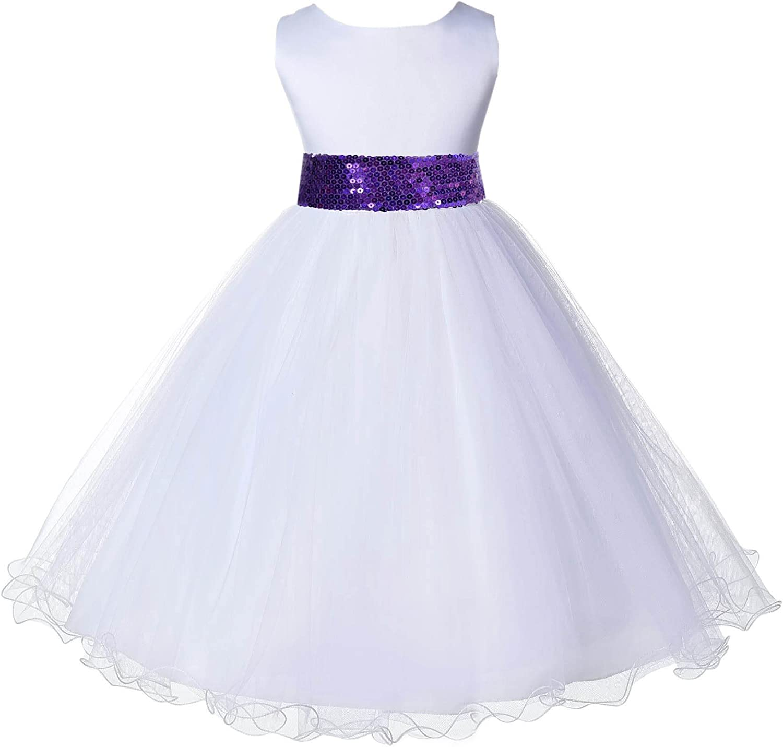 ekidsbridal White Rattail Edge Tulle Sequin Sash Flower Girl Dress Birthday Dress 829mh