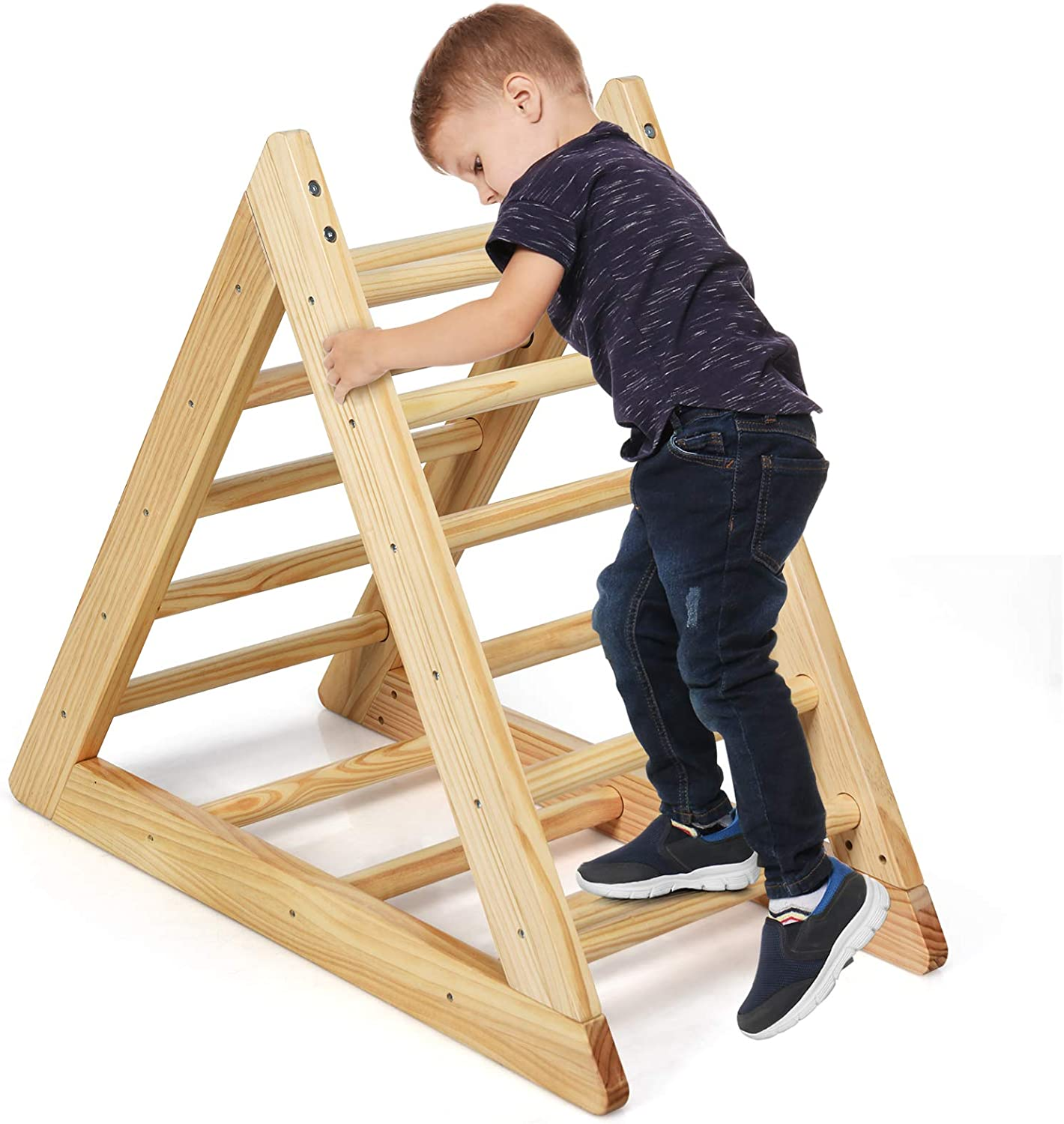 GLACER Wooden Climbing Triangle Ladder, Toddler Triangle Climber