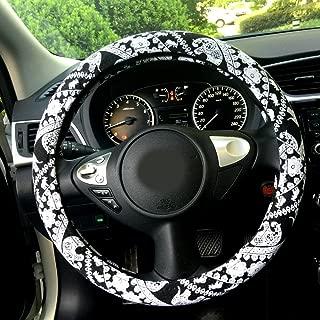 Rayauto 38cm/15 Automotive Ethnic Cloth Wrap Cute Elephant Universal Car Steering Wheel Cover Black white