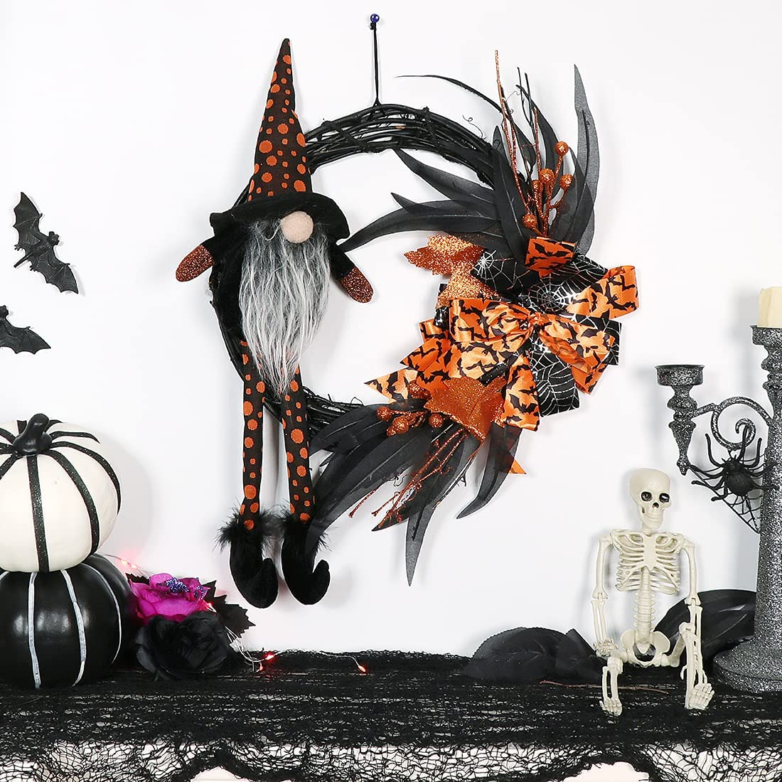 GMOEGEFT Halloween Wreath 14 Inches Wreath Witch Gnome with Ribbon Artificial Autumn Fall Decoration Front Door Wall Window Wreath Decor for Outdoor Home