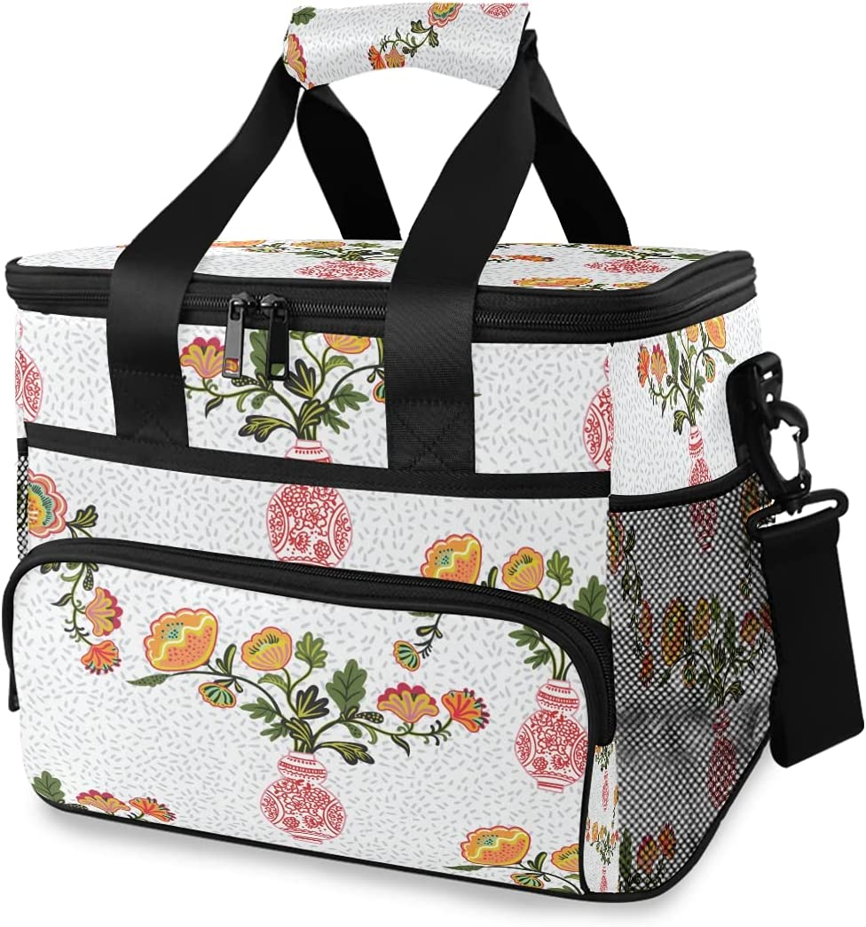 HMZXZ Large Cooler Lunch We OFFer at cheap prices supreme Bag Chinese Flowers Chinoiserie 2 Retro