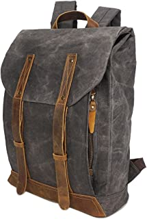 Color : Gray, Size : M Shengjuanfeng Mens Backpack Canvas Retro Student Backpack Fashion Travel Leisure Backpack