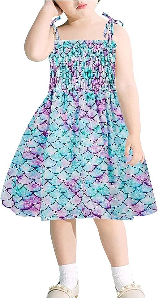 Sommerkleid Baby Mädchen Ärmellose Schlinge Kleid Kinder Freizeit Strandkleid mit Blumenmuster Druck Bohemian Knielänge Rüschenkleid Babykleid Atmungsaktiv Kleinkinder Kleid Alter 2-8 Jahr