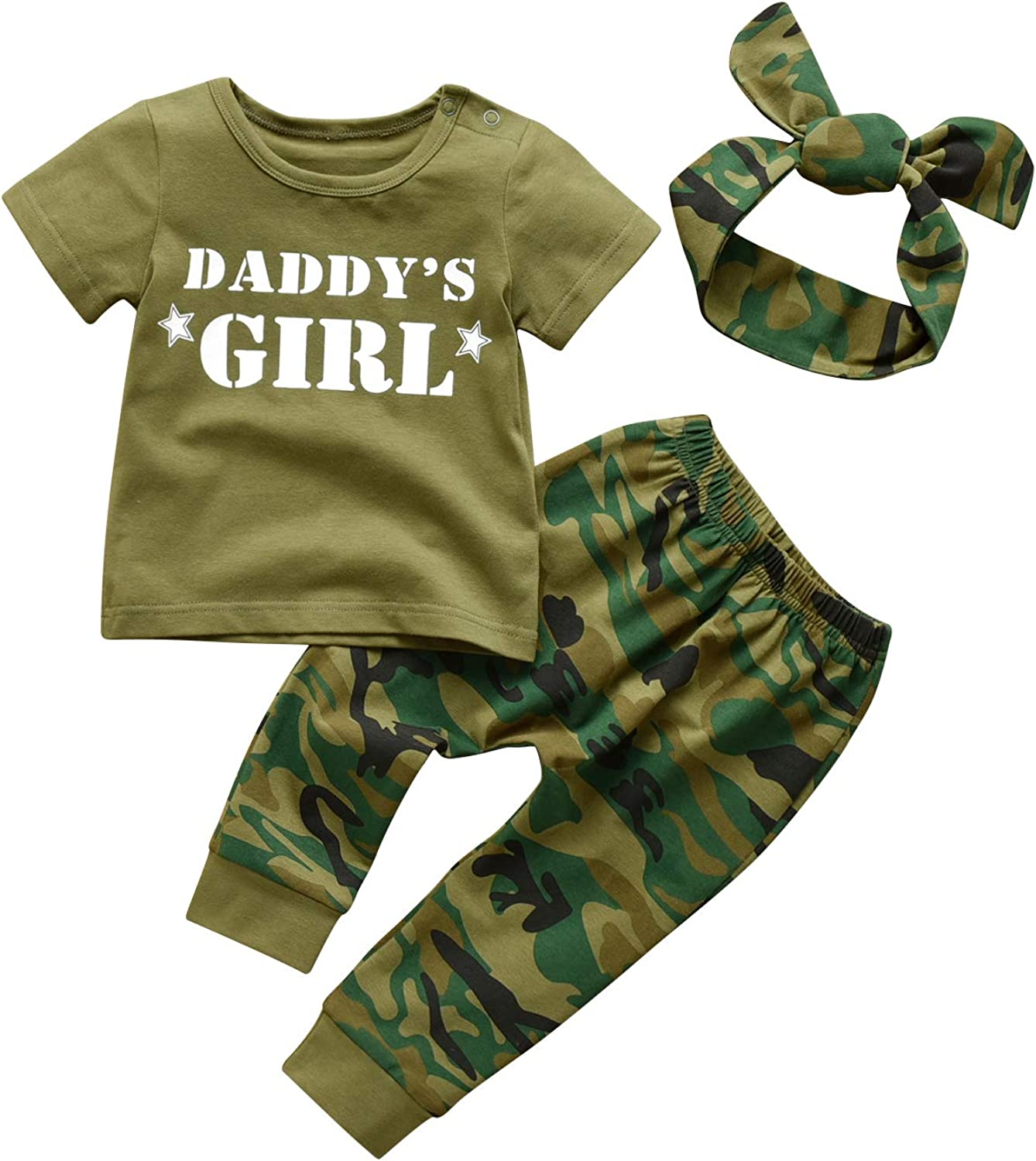 Baby Boy Girl Clothes Letter Print T-Shirt Tops Camouflage Pants Outfits Set