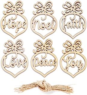 Unfinished Wooden Christmas Ornaments with Rope, 24-Pack Love, Peace, Joy, Faith, Hope, Noel, Paintable Blank Xmas Tree Hanging Wood Slices for Kids DIY Art Crafts, Festive Decoration