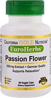 California Gold Nutrition Passion Flower EuroHerbs 250 mg 60 Veggie Caps, Milk-Free, Egg-Free, Fish-Free, Gluten-Free, Pea...