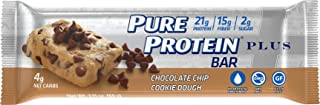 Pure Protein Plus Bars, Healthy Low Carb Snacks, Chocolate Chip Cookie Dough, 2.11 oz, 6 Count