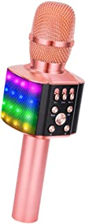 Best BONAOK Karaoke Bluetooth Wireless Microphone with controllable LED Lights, 4 in 1 Portable Singing Machine Speaker for Android/iPhone/PC Review