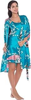 KimonoDeals Women's dept Gorgeous Loungewear Bathrobe Camisole Robe Nightgown 2PC Sleepwear Set