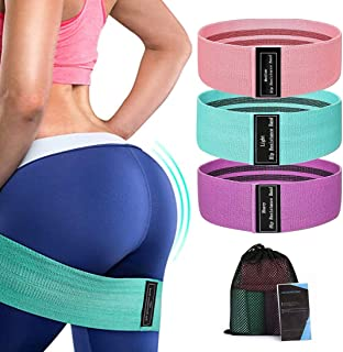 8BEES Exercise Resistance Bands Booty Bands Set for Legs and Butt Fabric Resistance Loop Non Slip Elastic Workout Bands Wo...