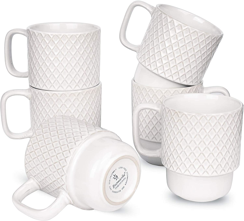 Bosmarlin Large Ceramic Stackable Coffee Mugs Set of 6, 17 Oz, Dishwasher and Microwave Safe (White, 17 Oz)