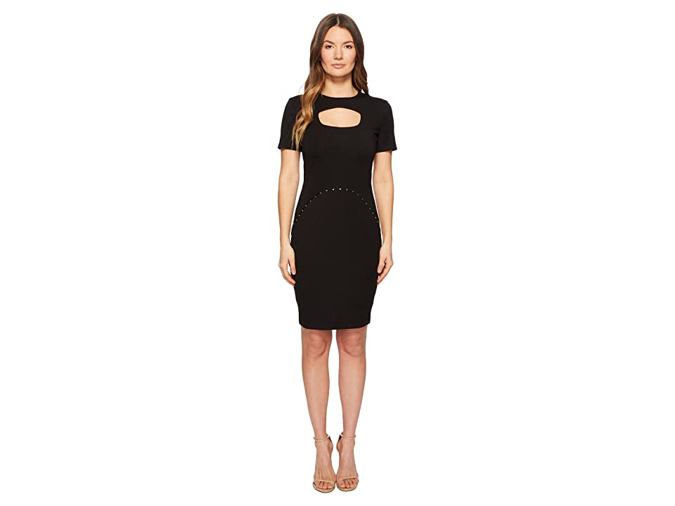 Versace Jeans Couture Short Sleeve Dress w/ Cut Out (Black) Women
