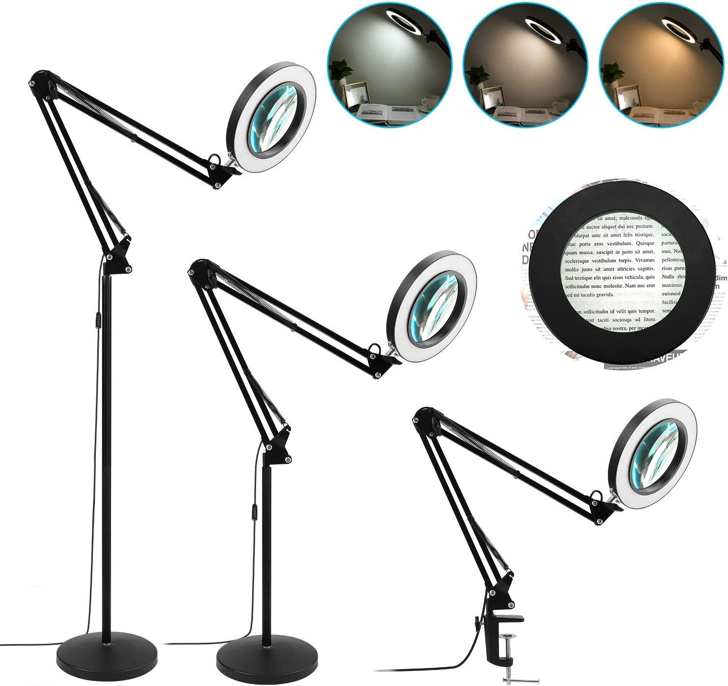 Magnifying Floor Lamp with Stand 8 Lens supreme - 5X Glass Albuquerque Mall Diopter Real