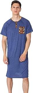Men's Cotton Nightshirt Raglan Sleep Shirts Short Sleeve Comfy Night Shirts for Men Pajamas