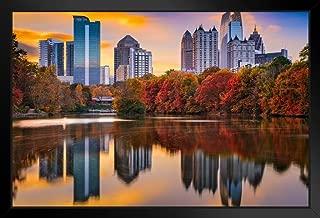 Atlanta Georgia Skyline from Piedmont Park in Autumn Photo Art Print Black Wood Framed Poster 20x14 inch