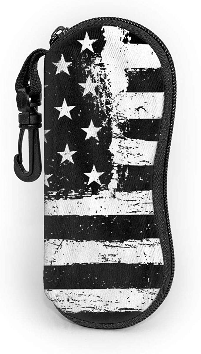 Sunglasses Case Black And White American Flag Hard Glasses Eyeglass Case With Clip On For Boys