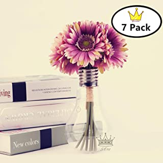 S.Ena, 1 Branch 1 Head Artificial Silk Fake Flowers Gerbera Daisy Wedding Floral Home Decor Bouquet Birthday Party DIY, Pack of 7 (Purple)
