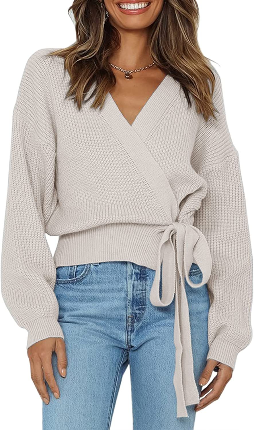 Fessceruna Womens V Neck Wrap Sweater Batwing Long Sleeve Tie Front Belted Chunky Jumper Blouse Pullover