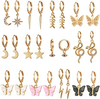 9/10/12 Pairs Gold Small Hoop Earrings Pack with Charm-Silver Mini Hoop Dangle Earrings with Charm- Huggie Hoop Earrings Set for Teen Girls And Women
