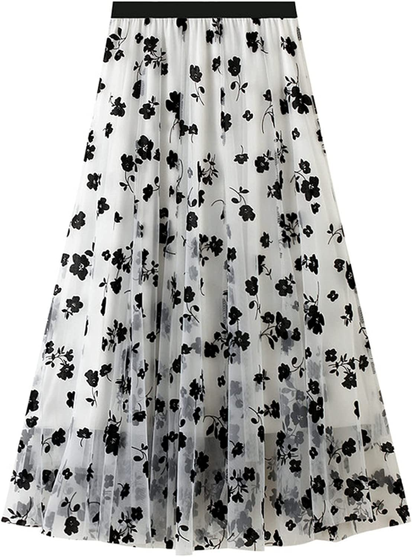 MEWOW Women's Elastic Waist Black Flocking Flowers Mesh Midi Long Pleated Skirt